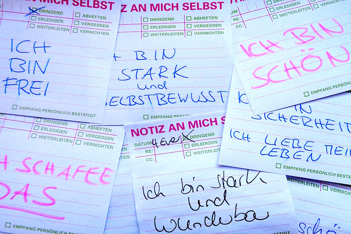 Denkzettel Post it Positive Botschaften